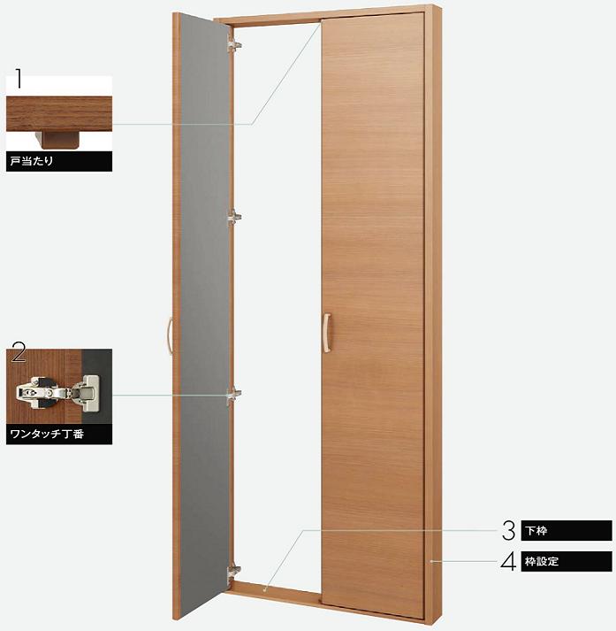 ファミリーラインクローゼットドア両開き戸の説明画像