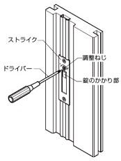 引戸錠のかかり調整の説明画像