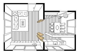 間仕切り戸使用例リビングの画像