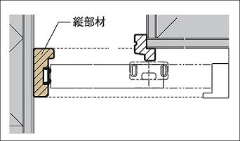 アウトセット方式引戸縦部材の説明画像