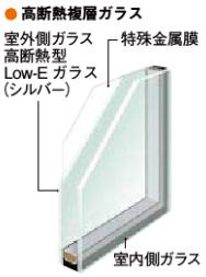 高断熱複層ガラスの断面説明図